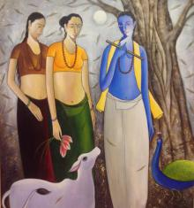 Shivkumar Paintings | Acrylic Painting - Krishna With Gopis by artist Shivkumar | ArtZolo.com
