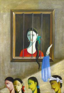 Shivkumar Paintings | Acrylic Painting - Looking Outside The Window by artist Shivkumar | ArtZolo.com