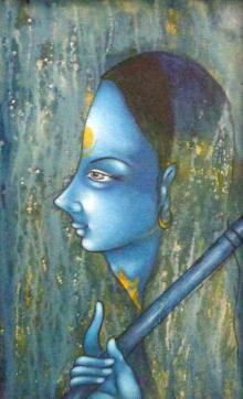 Manoj Aher Paintings | Acrylic Painting - Meera by artist Manoj Aher | ArtZolo.com