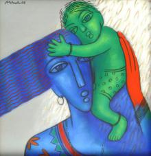 Rajesh Shah Paintings | Acrylic Painting - Mother And Child by artist Rajesh Shah | ArtZolo.com