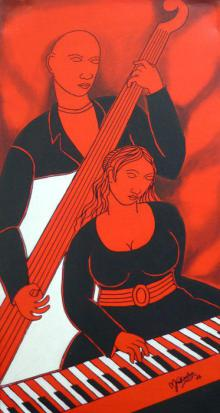 Mukesh Paintings | Acrylic Painting - Musical Couple by artist Mukesh | ArtZolo.com