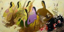 Figurative Acrylic Art Painting title 'Musicians' by artist Giram Eknath
