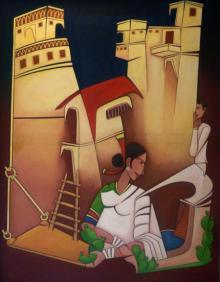 Figurative Acrylic Art Painting title 'Onlooker' by artist Pasabhai Makwana