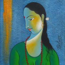 Figurative Acrylic Art Painting title 'Radha I' by artist Shivkumar