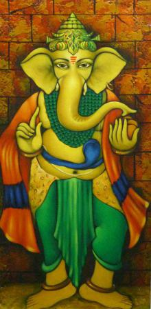 Manoj Aher Paintings | Acrylic Painting - Standing Ganesha by artist Manoj Aher | ArtZolo.com