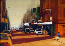 Ekta Singha Paintings | Acrylic Painting - Street View by artist Ekta Singha | ArtZolo.com