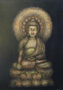 Ashok Revankar Paintings | Mixed-media Painting - The Buddha by artist Ashok Revankar | ArtZolo.com