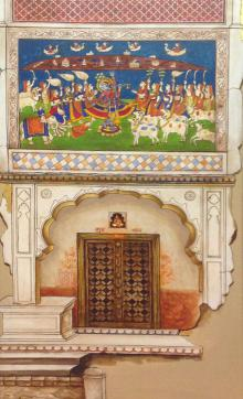 Pradeep Verma Paintings | Acrylic Painting - Traditional Indian Door by artist Pradeep Verma | ArtZolo.com
