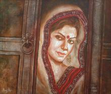 Manoj Sen Paintings | Acrylic Painting - Traditional Woman by artist Manoj Sen | ArtZolo.com