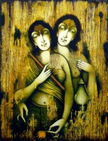Manoj Aher Paintings | Acrylic Painting - Two Women by artist Manoj Aher | ArtZolo.com