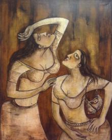 Sanjay Sinha Paintings | Acrylic Painting - Two Women by artist Sanjay Sinha | ArtZolo.com