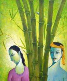 Shivkumar Paintings | Acrylic Painting - Village Couple by artist Shivkumar | ArtZolo.com