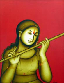Monica Paintings | Acrylic Painting - Woman Playing Flute by artist Monica | ArtZolo.com