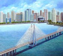 DM Ajankar Paintings | Acrylic Painting - Bandra Worli Sea Link by artist DM Ajankar | ArtZolo.com
