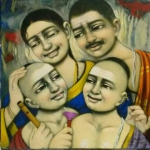Apet Pramod | Acrylic Painting title Family on Canvas | Artist Apet Pramod Gallery | ArtZolo.com
