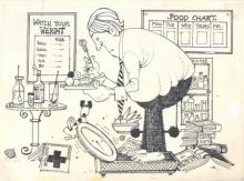 Cartoon Pen-ink Art Drawing title Mario Miranda Original B111 by artist Mario Miranda