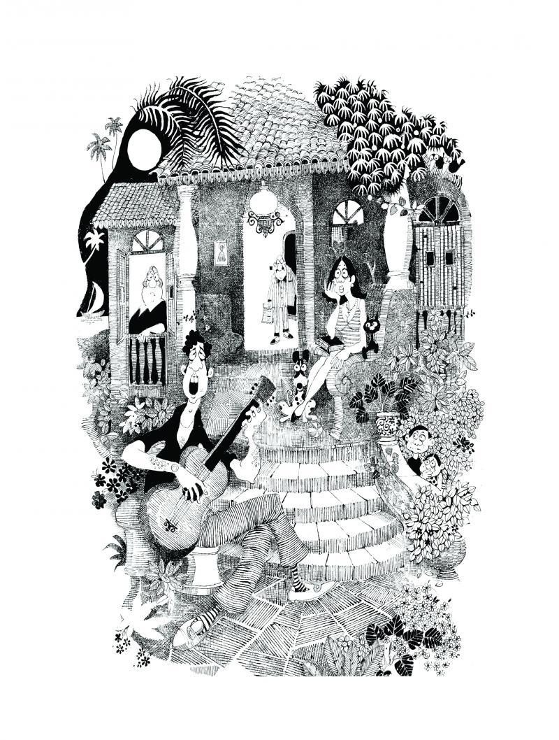 The Balcao Serenade (1966) by artist Mario Miranda ...