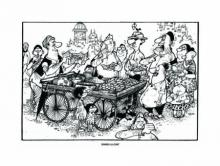 Cityscape Pen-ink Art Painting title Dinner A La Cart by artist Mario Miranda