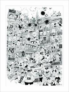 Cityscape Pen-ink Art Painting title Welcome to Bombay by artist Mario Miranda