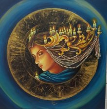 Figurative Acrylic Art Painting title Gorgeous Lady by artist Sonia Kumar