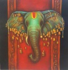 Figurative Acrylic Art Painting title Lord Ganapati by artist Sonia Kumar