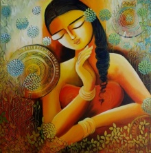 NITU CHHAJER Paintings | Acrylic Painting - Eternal love by artist NITU CHHAJER | ArtZolo.com