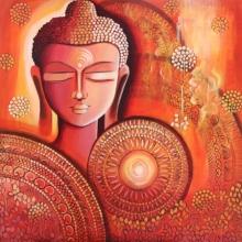 Religious Acrylic Art Painting title 'Buddha - Awakening Consciousness' by artist NITU CHHAJER