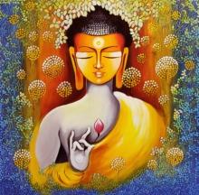 Religious Acrylic Art Painting title Buddha - Peace Begins With Self Love Ser by artist NITU CHHAJER