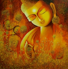 Religious Acrylic Art Painting title 'Emerging Buddha 3' by artist NITU CHHAJER
