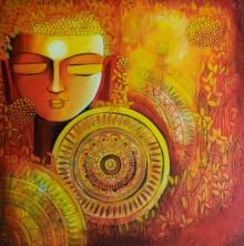 Religious Acrylic Art Painting title 'Emerging Budhha 1' by artist NITU CHHAJER