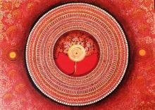 Nature Acrylic Art Painting title 'Mandala Series 1 - Muladhara' by artist NITU CHHAJER