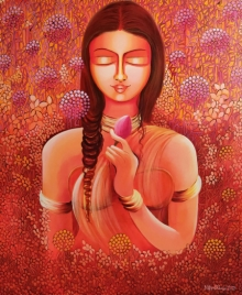 NITU CHHAJER Paintings | Acrylic Painting - Selflove- Loving My Own Identity by artist NITU CHHAJER | ArtZolo.com