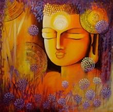 contemporary Acrylic Art Painting title 'Silent Buddha' by artist NITU CHHAJER