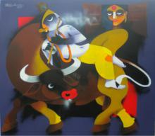 Uttam Manna | Acrylic Painting title Flute on Canvas | Artist Uttam Manna Gallery | ArtZolo.com