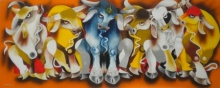 Animals Acrylic Art Painting title 'Meeting' by artist Uttam Manna