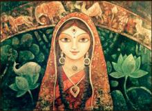 Figurative Acrylic Art Painting title Devi I by artist Indrani Acharya
