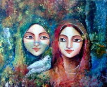 Figurative Acrylic Art Painting title 'Two Friends' by artist Indrani Acharya