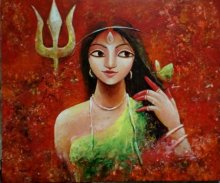 Indrani Acharya Paintings | Acrylic Painting - Her Power by artist Indrani Acharya | ArtZolo.com