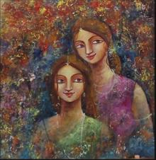 Figurative Acrylic Art Painting title 'Two Sisters' by artist Indrani Acharya