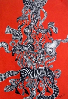 Animals Acrylic Art Painting title 'Time Travel 1' by artist Umed Rawat