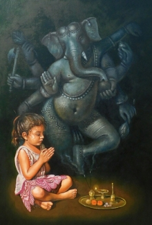 Religious Oil Art Painting title Devotee by artist Gopal Sharma
