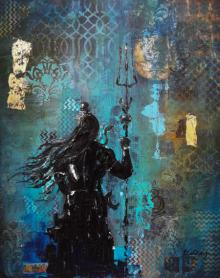 Sheetal Singh | Mixed-media Painting title Shiv on Canvas | Artist Sheetal Singh Gallery | ArtZolo.com