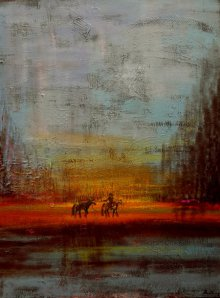 Landscape Acrylic Art Painting title 'Returning Horses' by artist Sheetal Singh