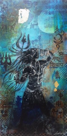 Religious Acrylic Art Painting title 'Shivshakti' by artist Sheetal Singh