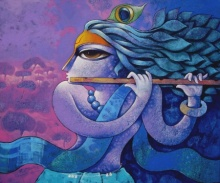 Religious Acrylic Art Painting title 'Bansidhar 44' by artist Ramchandra B Pokale