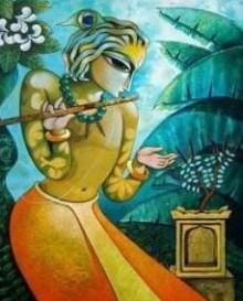 Figurative Acrylic Art Painting title 'Bansidhar II' by artist Ramchandra B Pokale