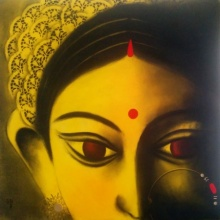 Uttara Joshi | Mixed-media Painting title Devi 34 on Canvas | Artist Uttara Joshi Gallery | ArtZolo.com