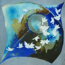 Animals Acrylic Art Painting title 'Kite and birds blue' by artist Shiv Kumar Soni