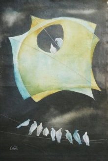 Nature Acrylic Art Painting title 'Kites and birds fantasy' by artist Shiv Kumar Soni