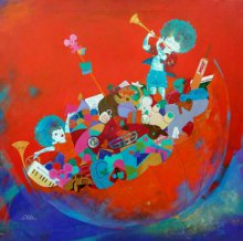 Figurative Acrylic Art Painting title 'The treasure of childhood' by artist Shiv kumar soni